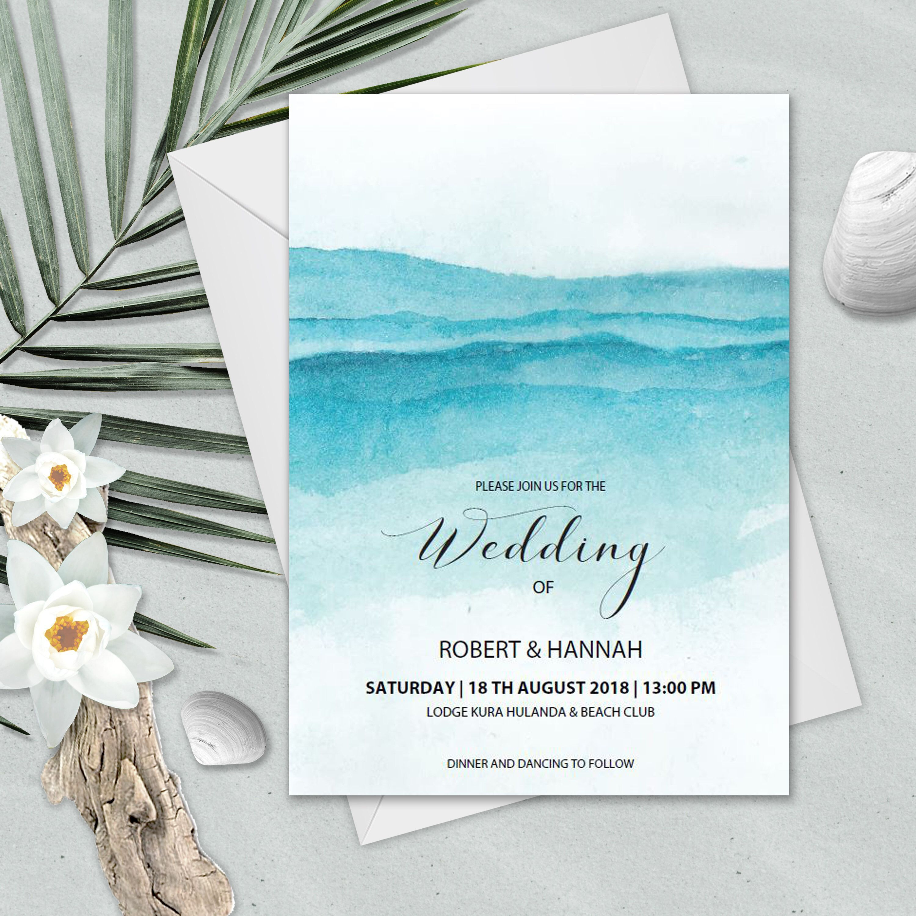 006 Unforgettable Beach Wedding Invitation Template Design  Templates Free Download For WordFull