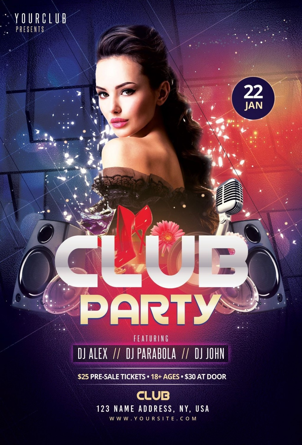 006 Unforgettable Club Party Flyer Template Free Concept Large