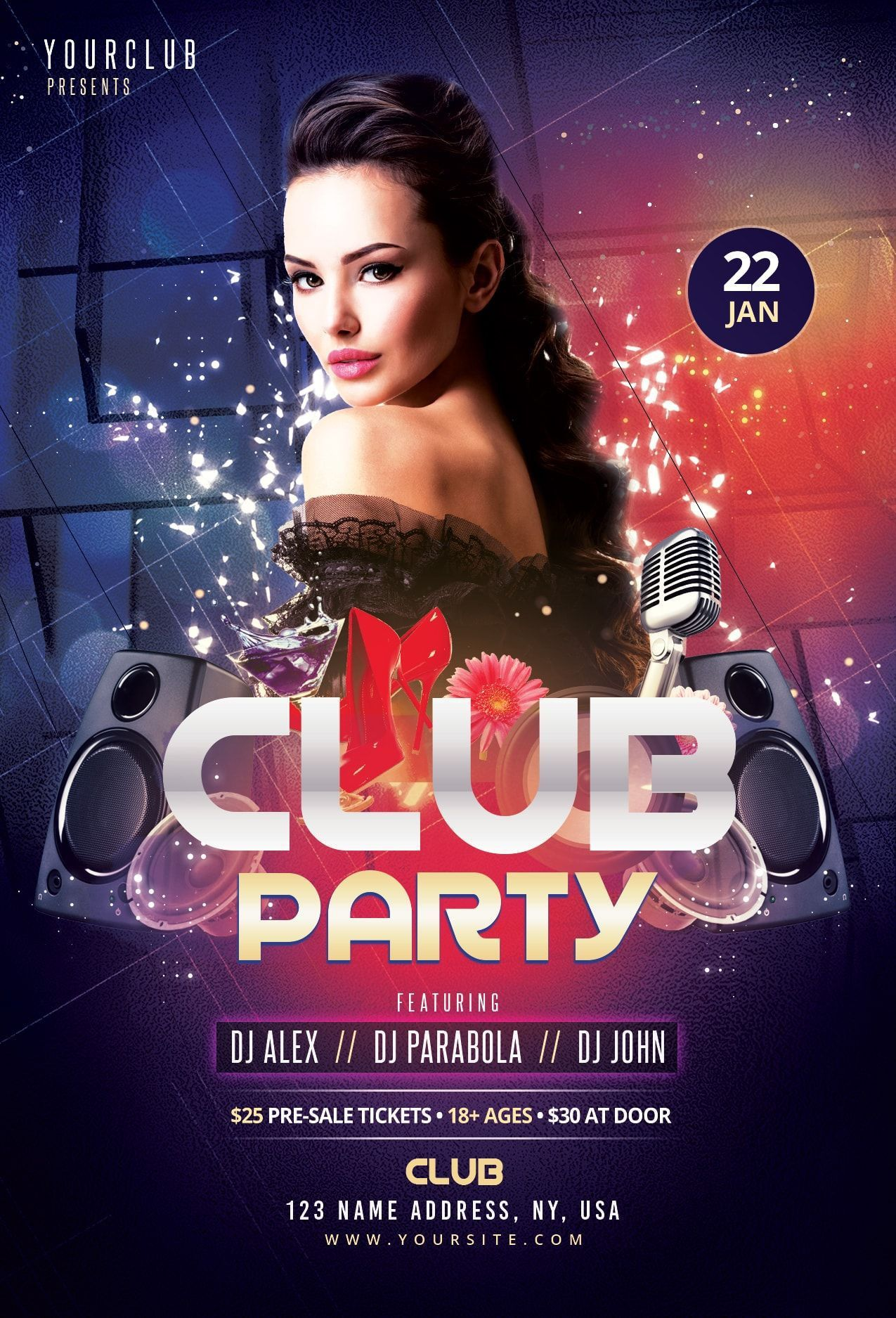 006 Unforgettable Club Party Flyer Template Free Concept Full