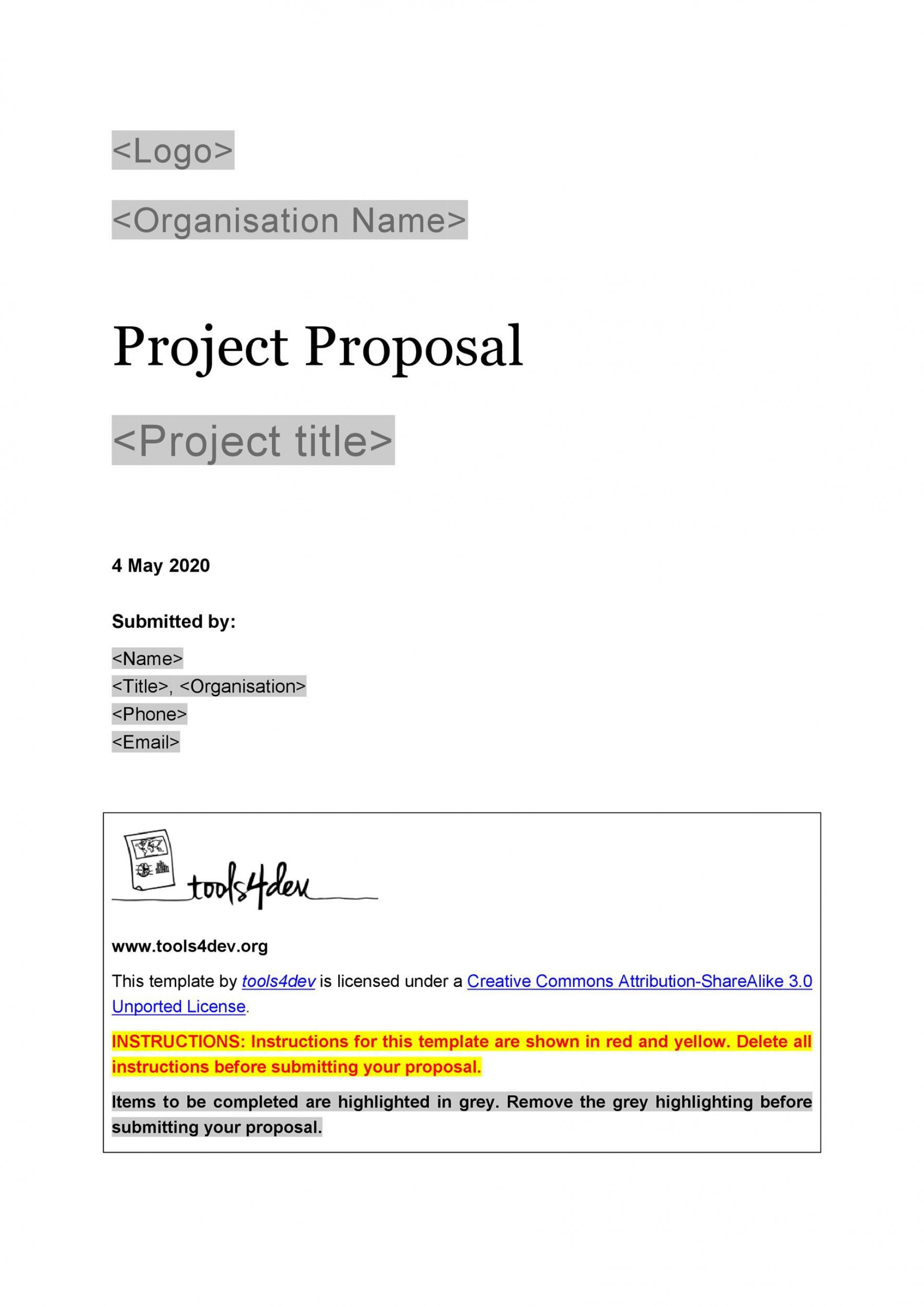 006 Unforgettable Free Project Proposal Template Highest Quality  Document Ppt Pdf1920