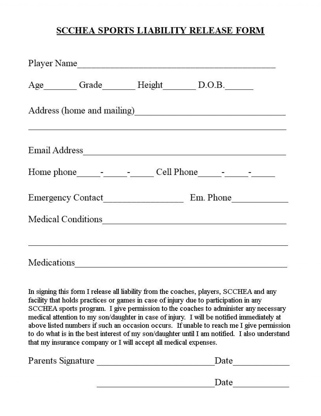 006 Unforgettable Liability Release Form Template Picture  General Waiver Church FreeLarge
