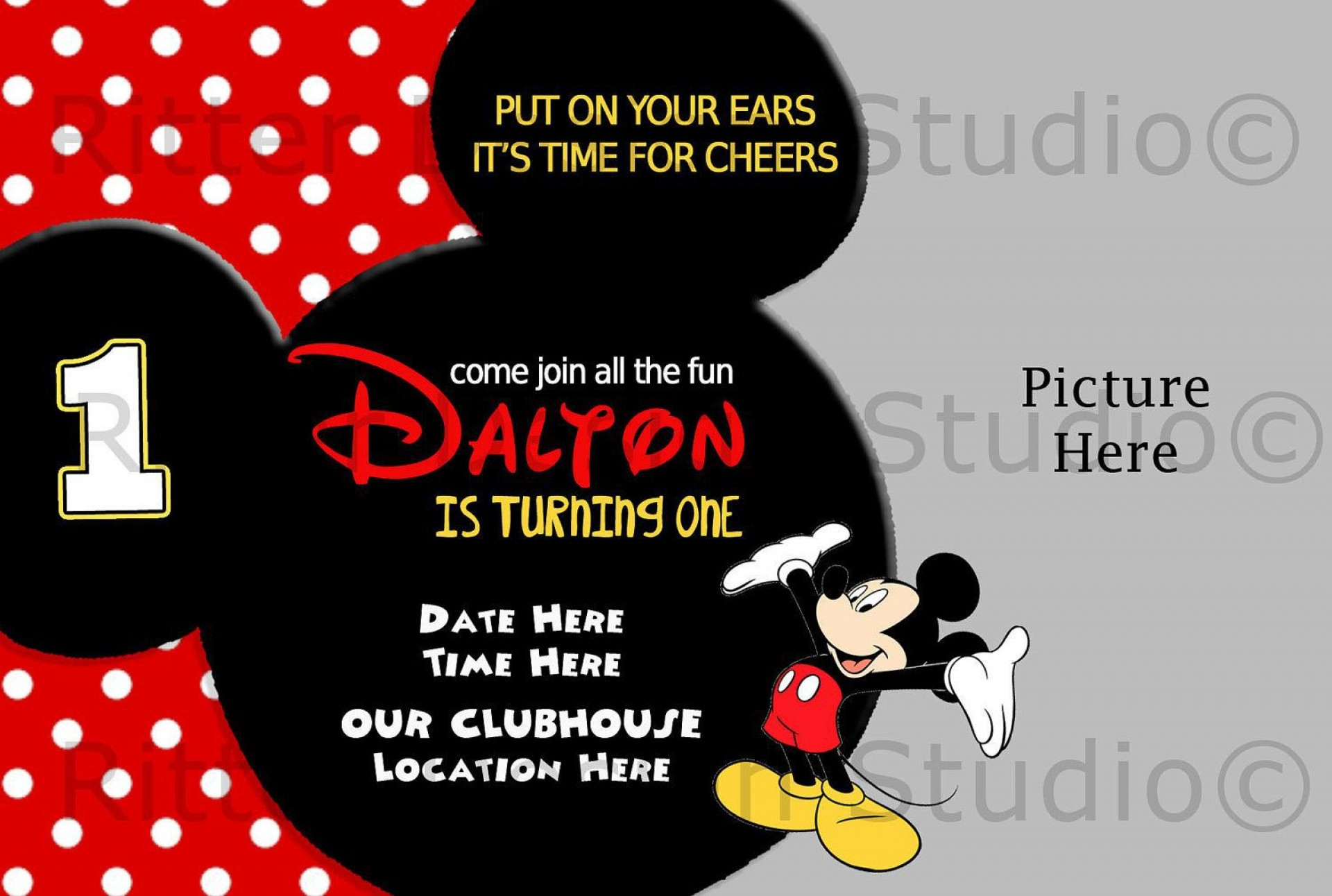 006 Unforgettable Mickey Mouse Invitation Template Design  Templates Clubhouse Birthday Free 1st Download1920