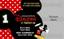 006 Unforgettable Mickey Mouse Invitation Template Design  Templates Clubhouse Birthday Free 1st Download
