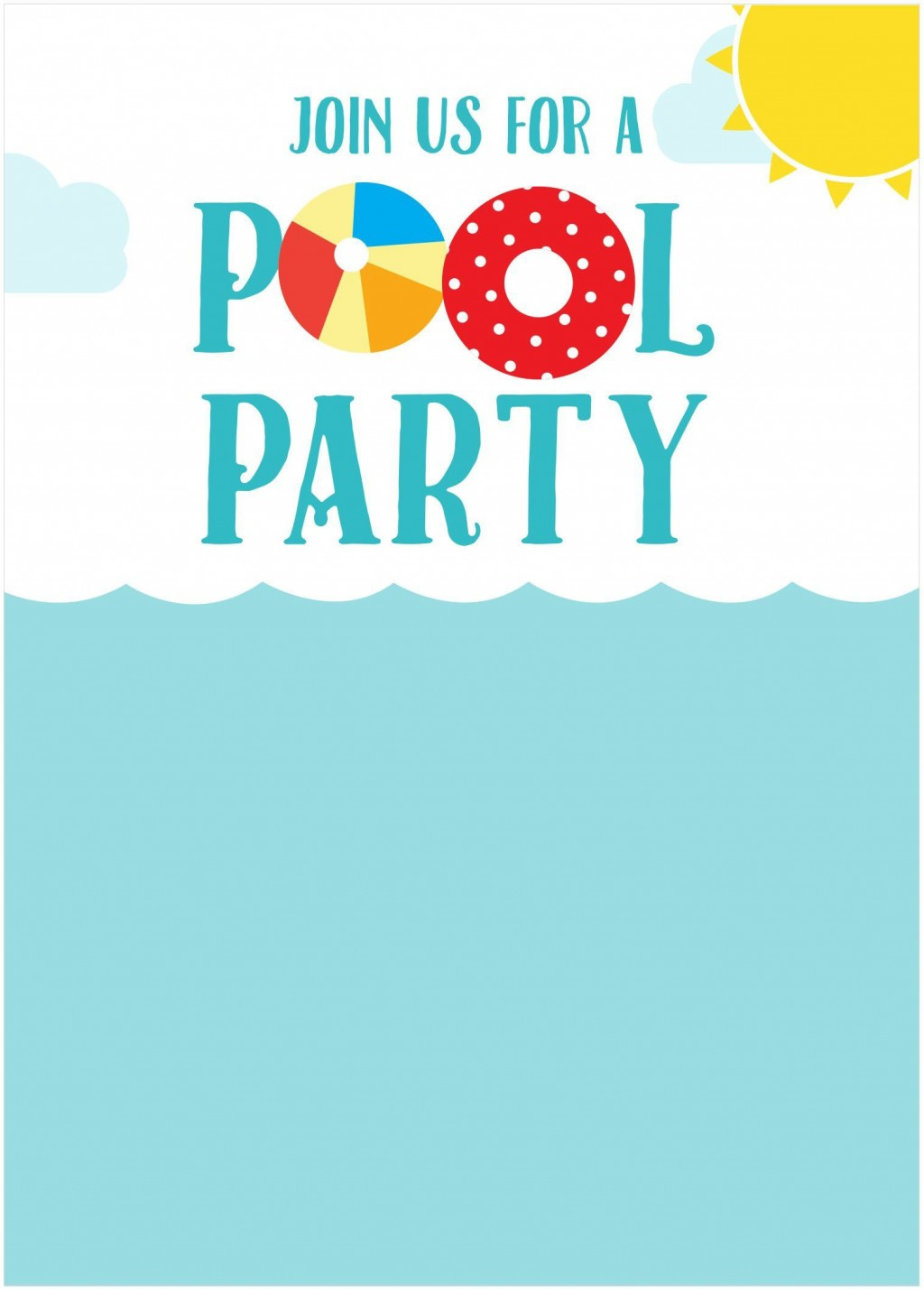 006 Unforgettable Pool Party Invitation Template Free Sample  Downloadable Printable SwimmingLarge