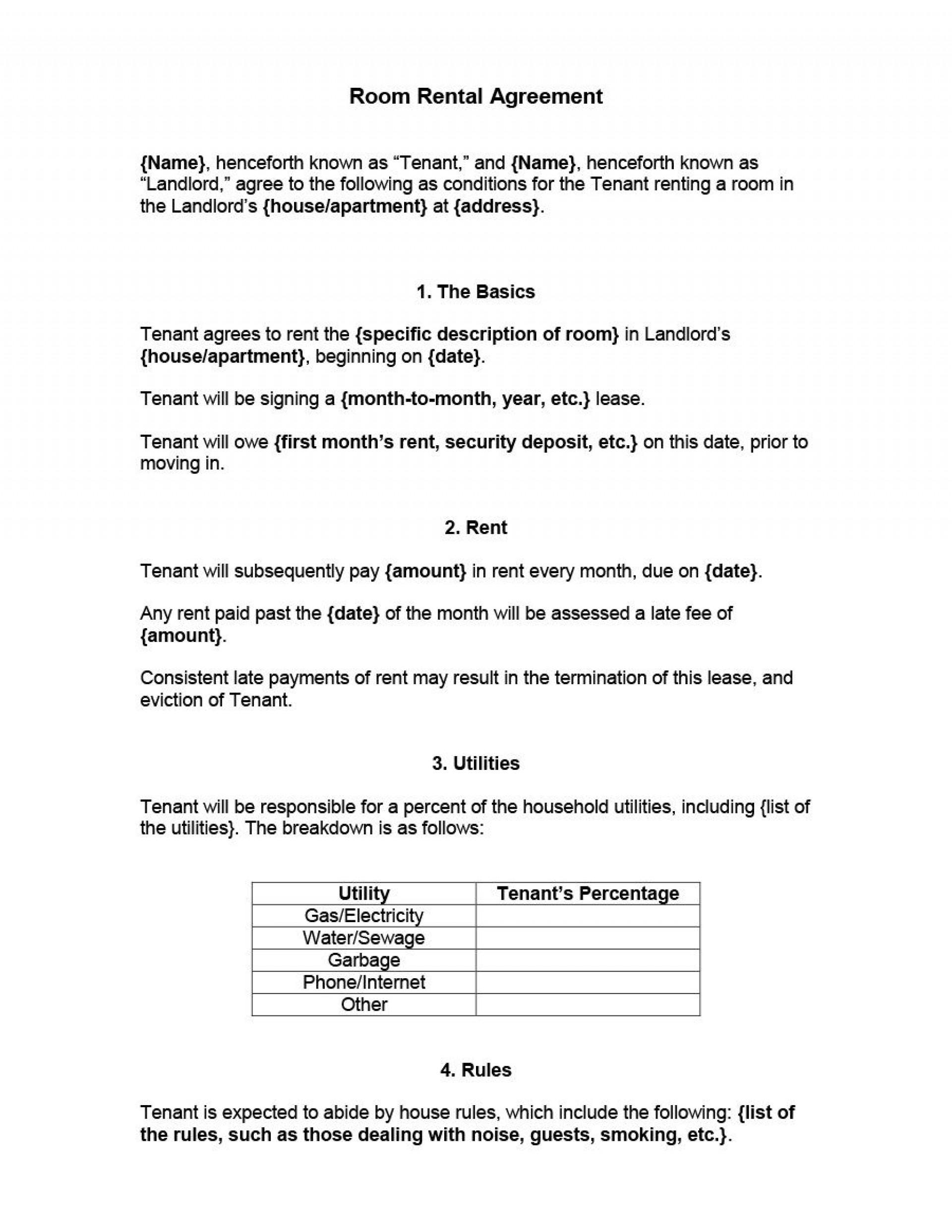 006 Unforgettable Simple Room Rental Agreement Template Sample  Free1920