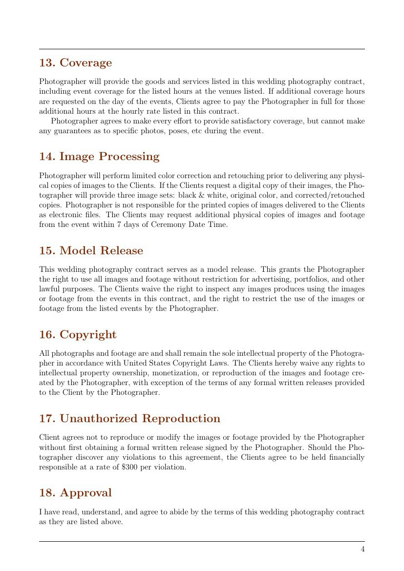 006 Unforgettable Wedding Photography Contract Templates. High Resolution  Template Pdf Photographer UkFull