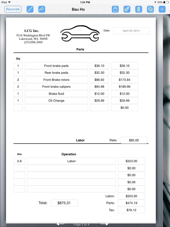 006 Unique Auto Repair Order Template Highest Quality  Work Free Automotive CarLarge