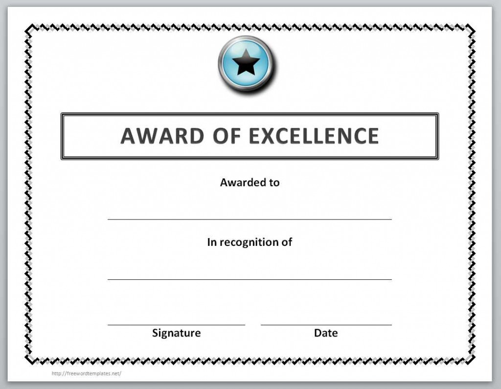 006 Unique Award Certificate Template Word Highest Quality  Doc Sample Wording ScholarshipLarge