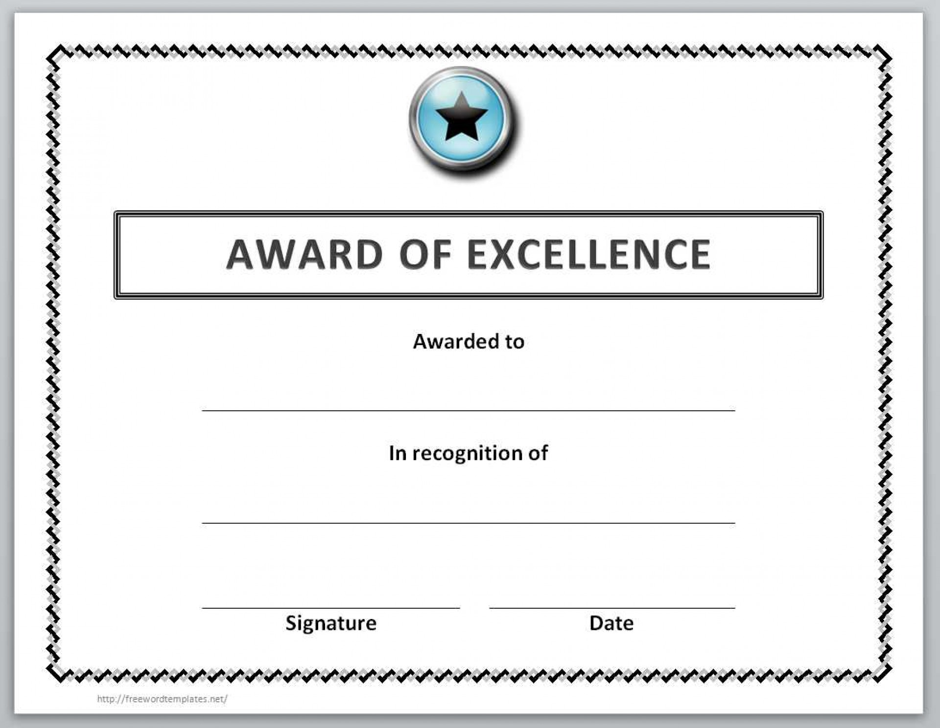 006 Unique Award Certificate Template Word Highest Quality  Doc Sample Wording Scholarship1920