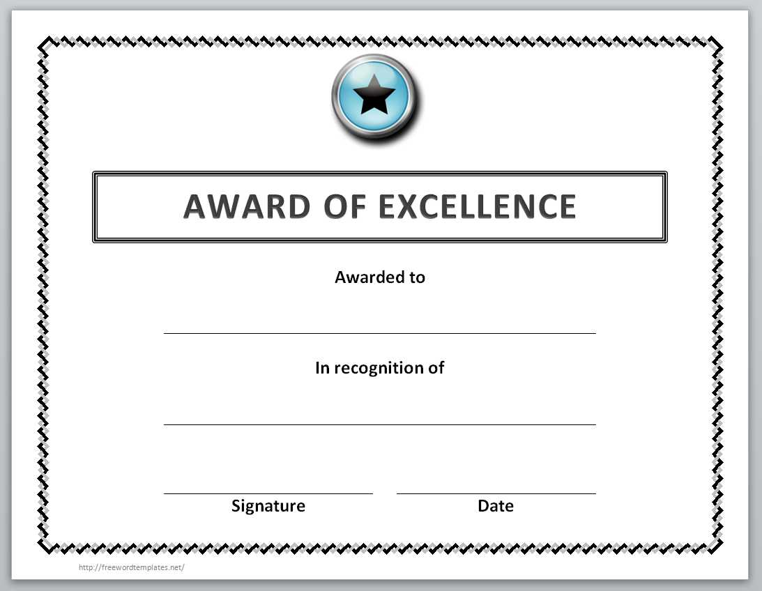 006 Unique Award Certificate Template Word Highest Quality  Doc Sample Wording ScholarshipFull