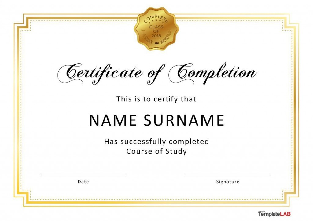 006 Unique Certificate Of Completion Template Free Sample  Training Download WordLarge