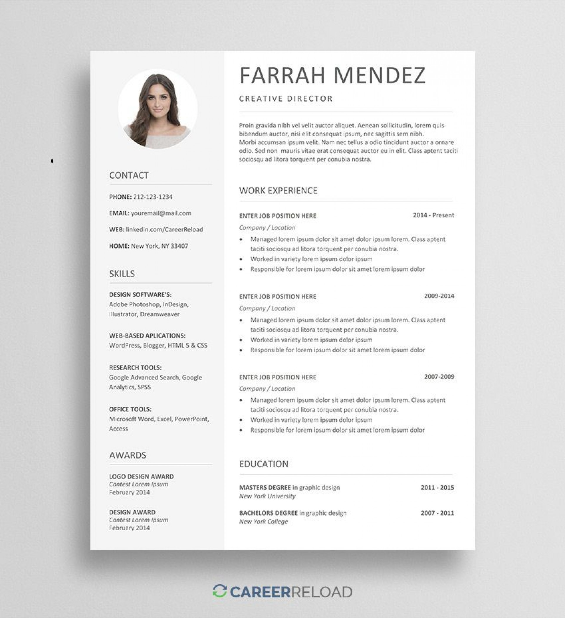 006 Unique Creative Resume Template Free Download Highest Quality  For Microsoft Word Fresher Cv Doc1920