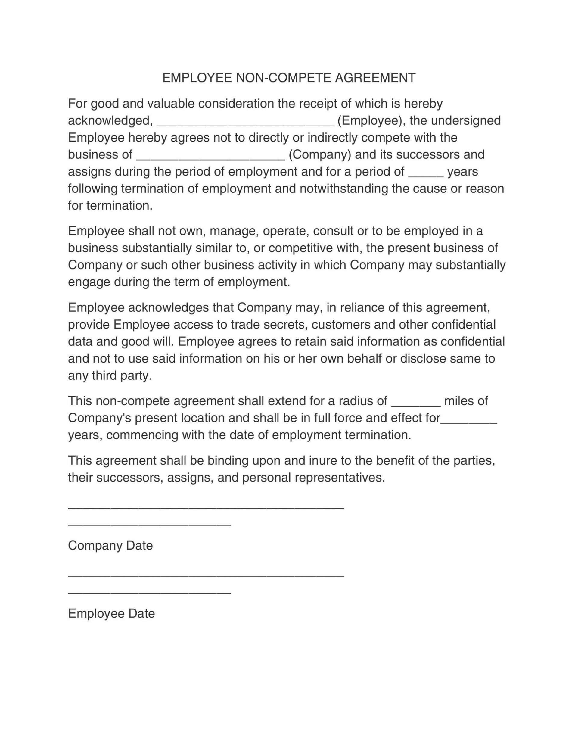 006 Unique Employee Non Compete Agreement Template Photo  Free Confidentiality Non-compete Disclosure1920