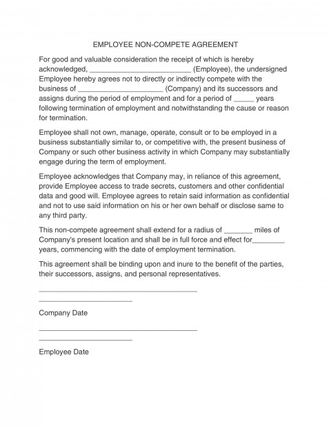 006 Unique Employee Non Compete Agreement Template Photo  Free Confidentiality Non-compete Disclosure480