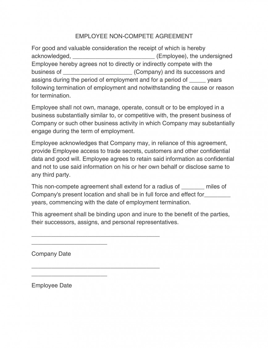 006 Unique Employee Non Compete Agreement Template Photo  Free Confidentiality Non-compete Disclosure868