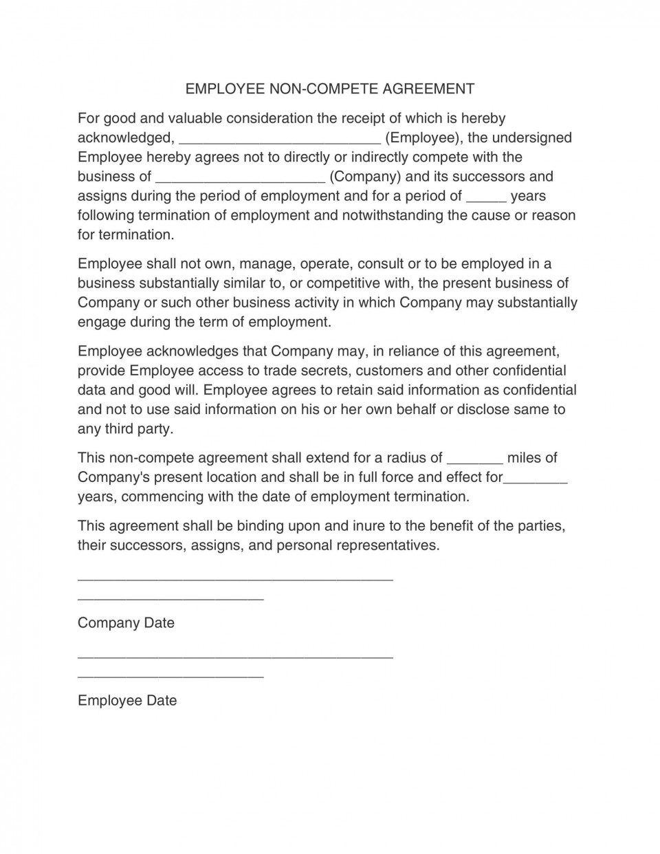 006 Unique Employee Non Compete Agreement Template Photo  Free Confidentiality Non-compete Disclosure960