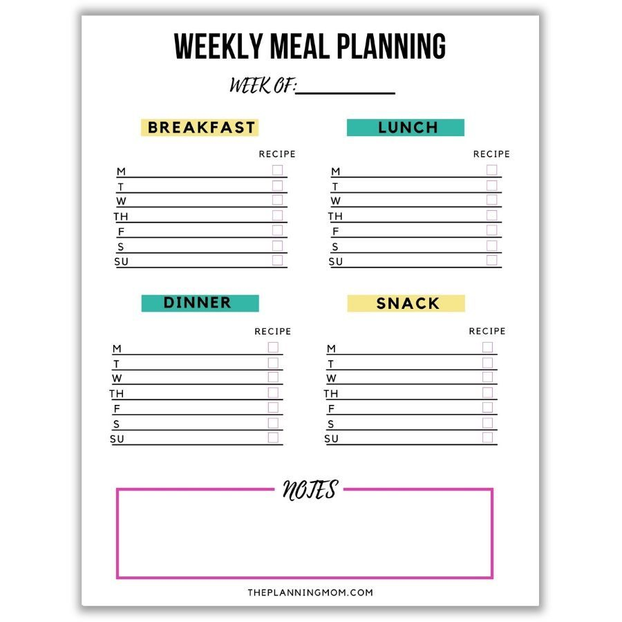 006 Unique Free Printable Weekly Meal Plan Template Image  Planning WorksheetFull