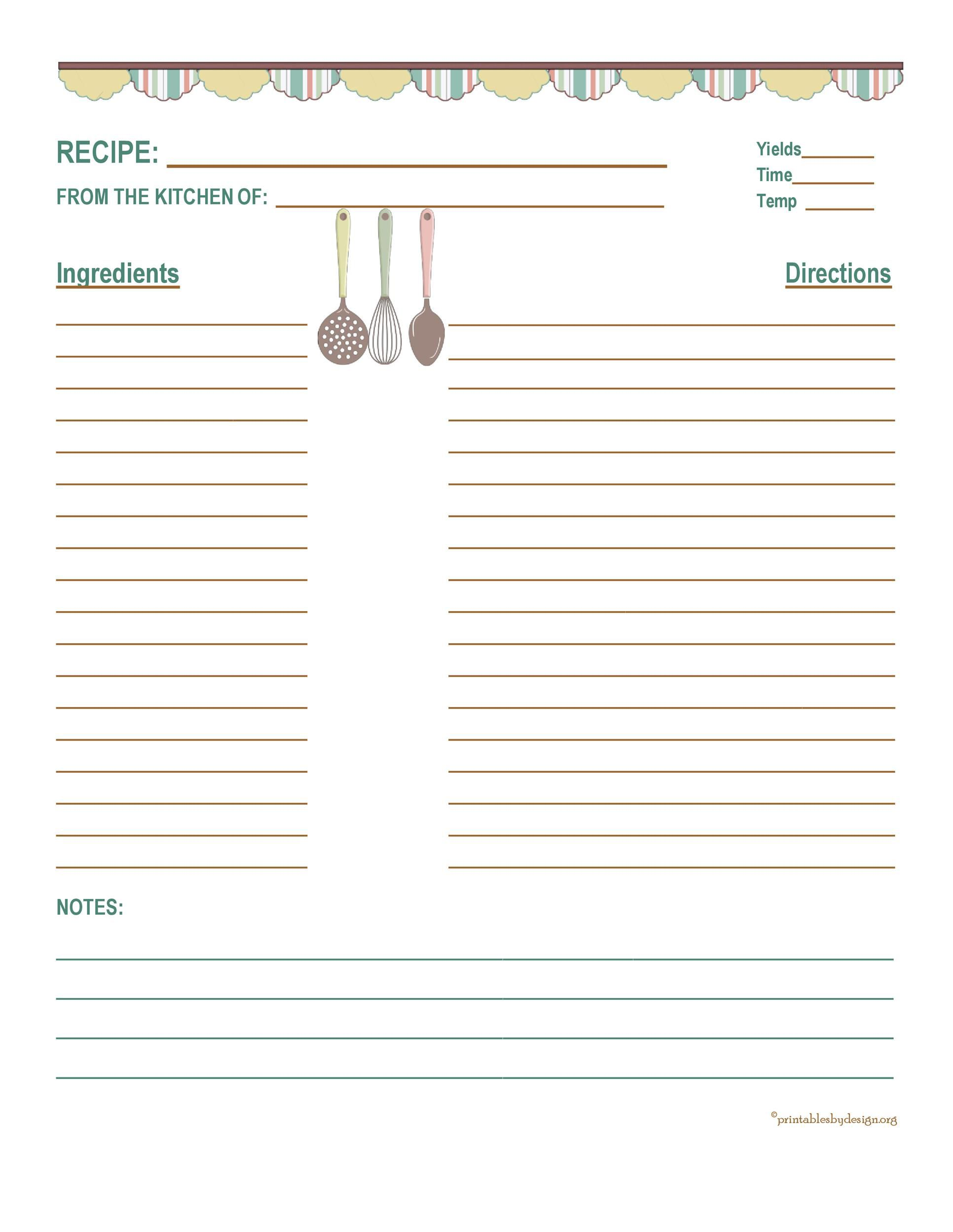 006 Unique Full Page Recipe Template Image  Card For Word Free EditableFull