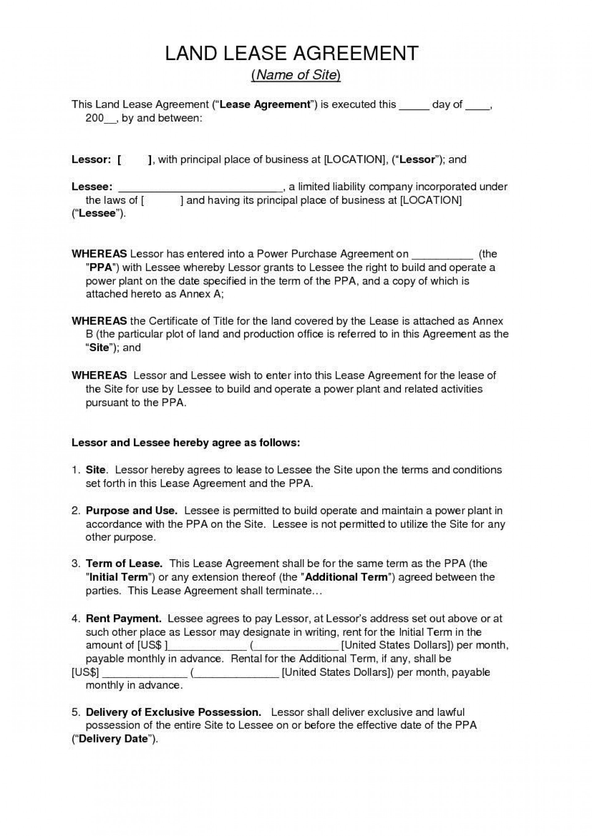 006 Unique Land Lease Agreement Template Highest Quality  Templates Uk Farm Free1920