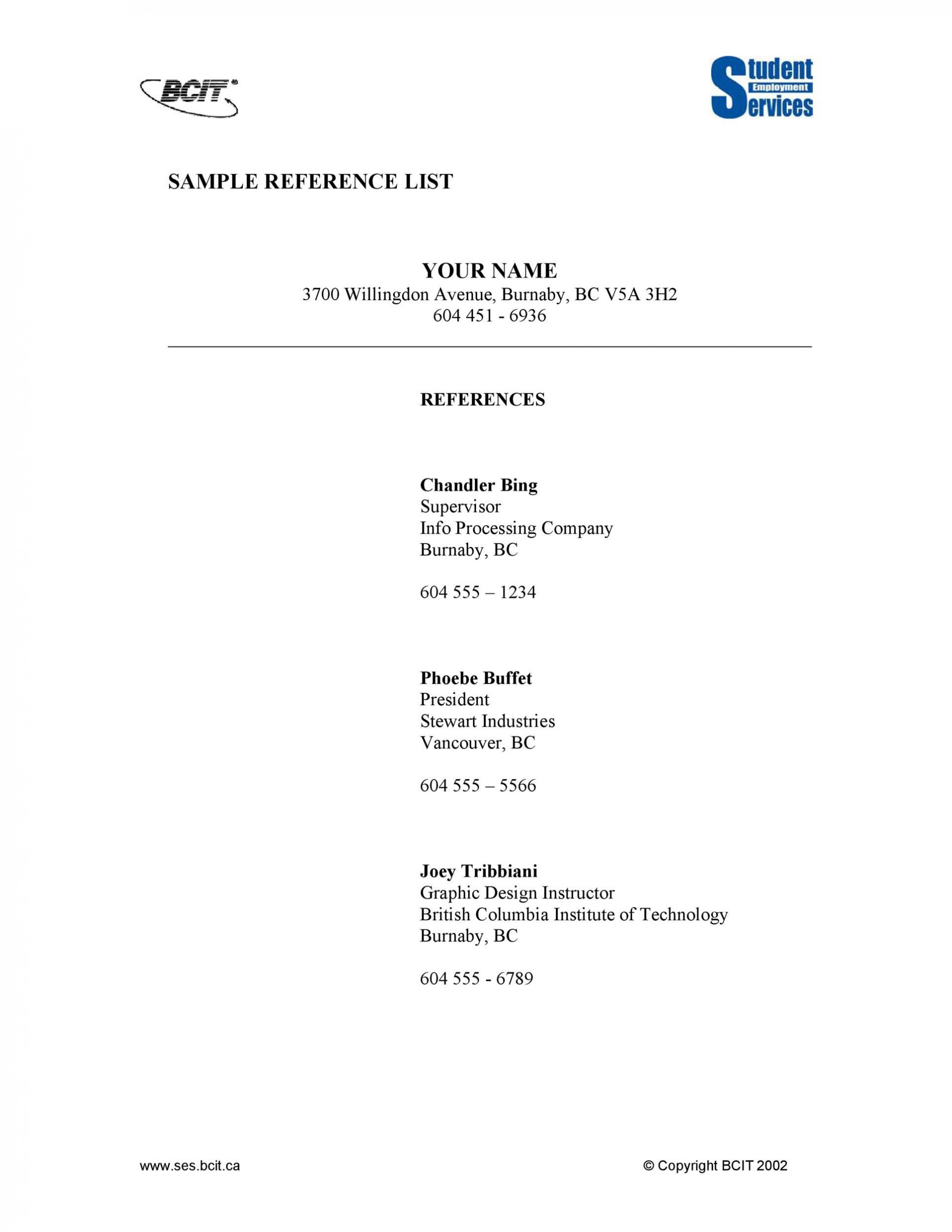 006 Unique List Of Reference Template Picture  Employment Format Professional Free1920