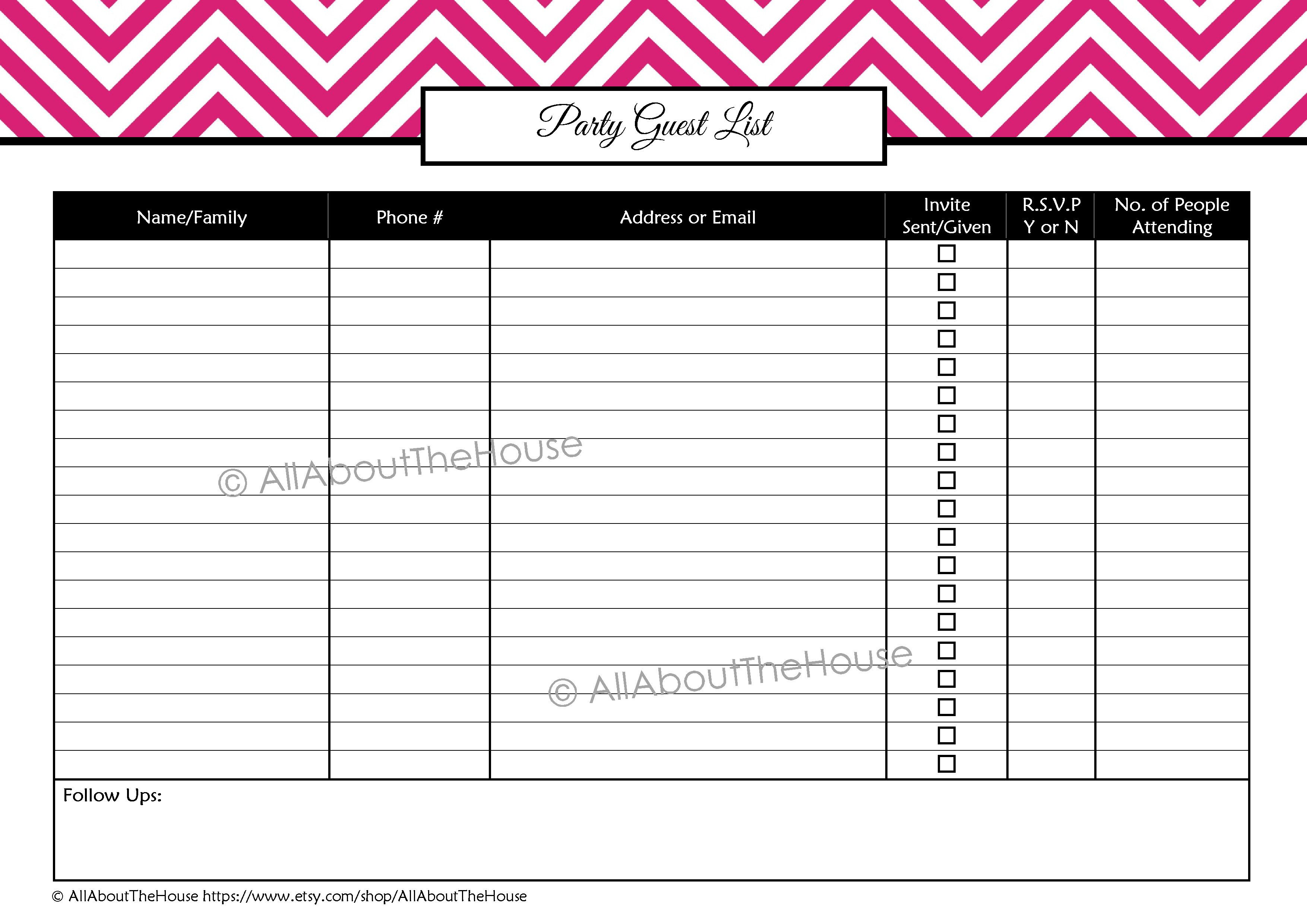 006 Unique Party Guest List Template Excel Free Picture Full