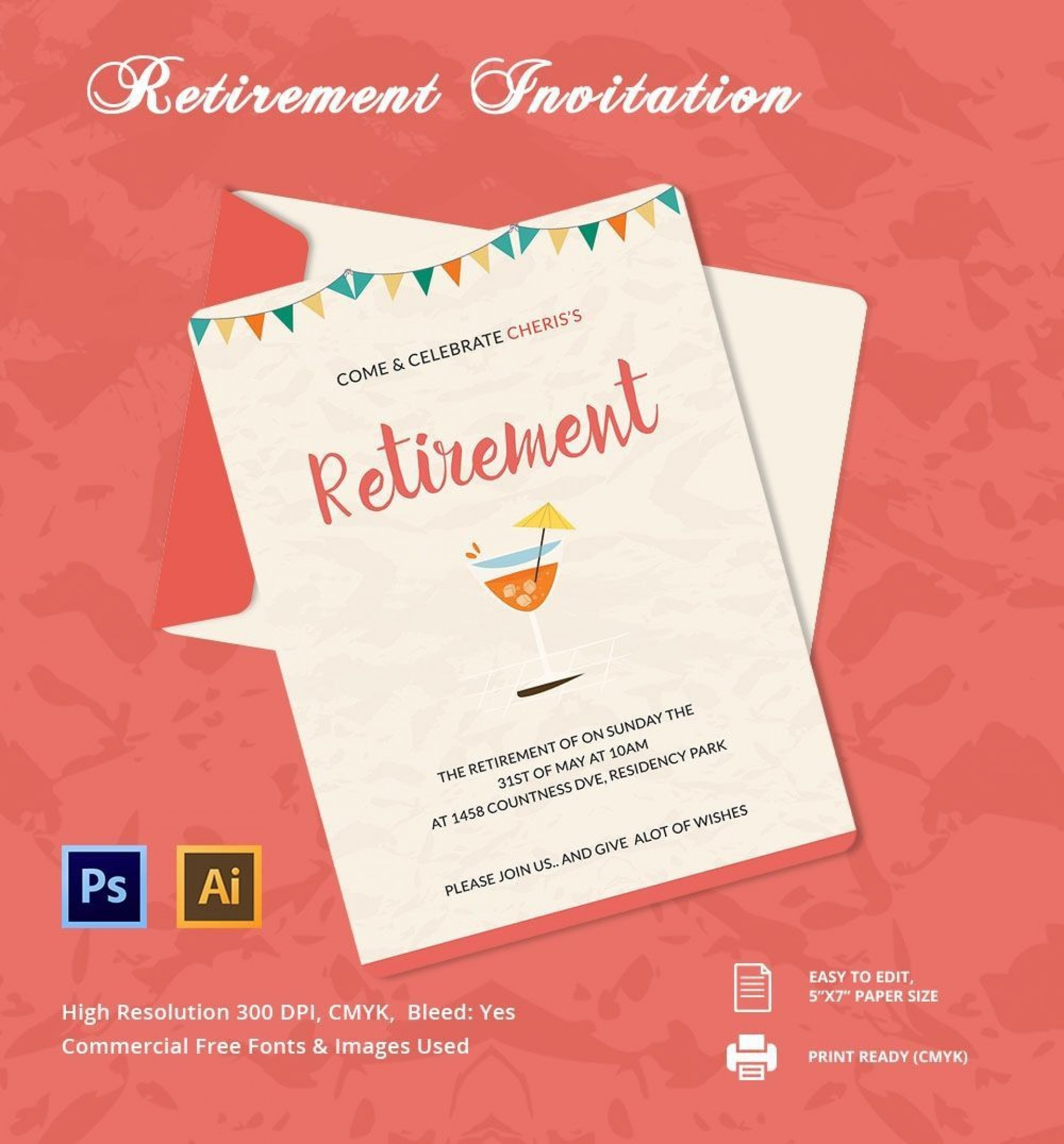 006 Unique Retirement Party Invitation Template Free Word Sample  M1920