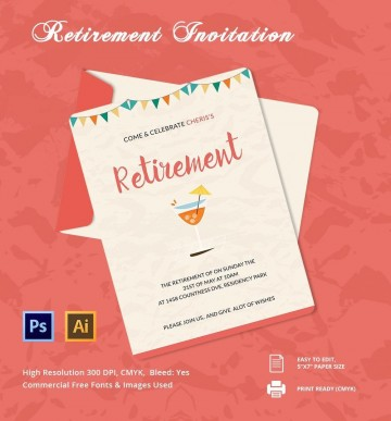 006 Unique Retirement Party Invitation Template Free Word Sample  M360