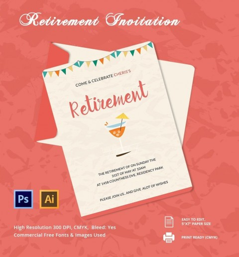 006 Unique Retirement Party Invitation Template Free Word Sample  M480