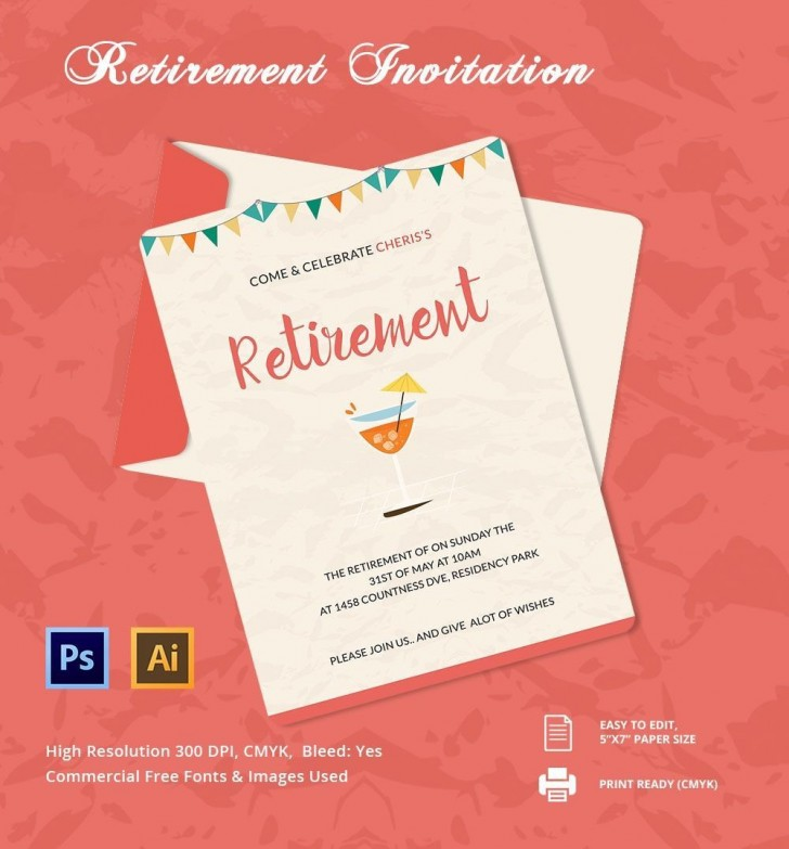 006 Unique Retirement Party Invitation Template Free Word Sample  M728