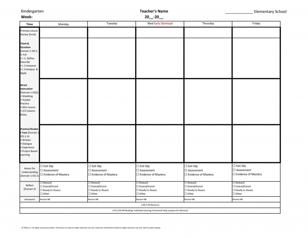 006 Unique Weekly Lesson Plan Template Inspiration  Blank Free High School Danielson Google DocLarge