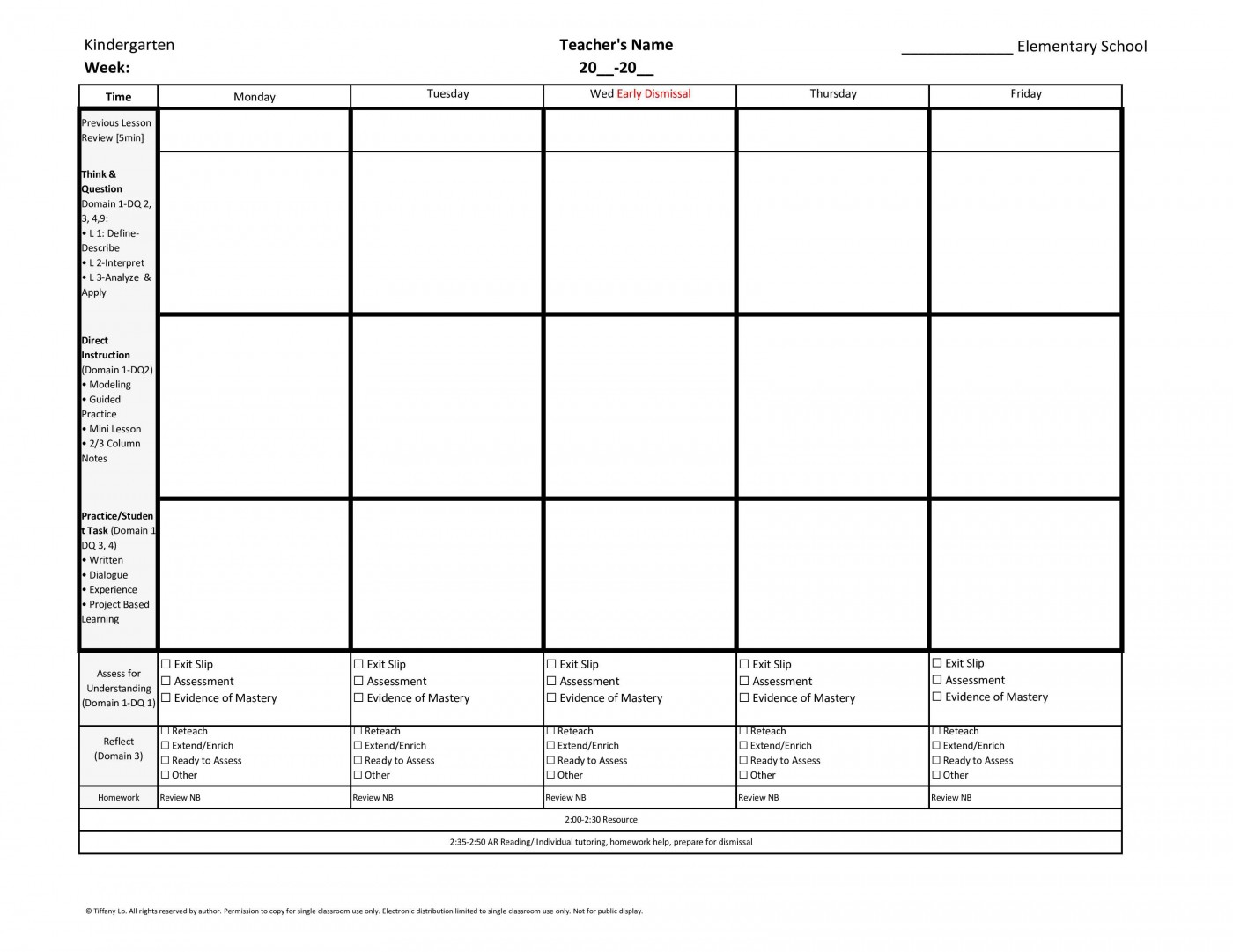006 Unique Weekly Lesson Plan Template Inspiration  Blank Free High School Danielson Google Doc1400