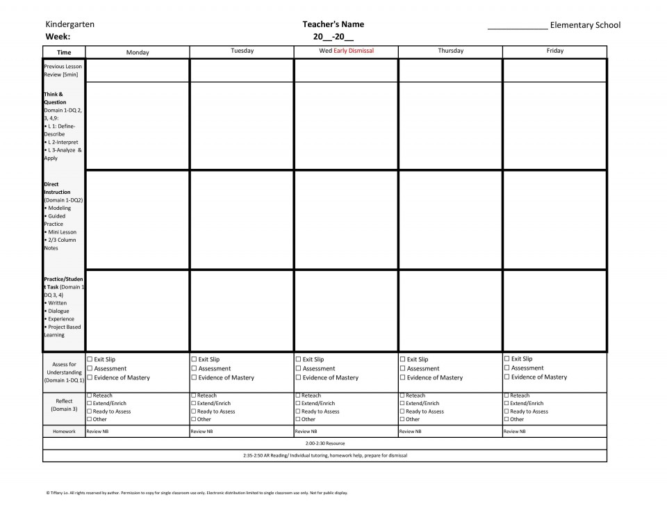 006 Unique Weekly Lesson Plan Template Inspiration  Blank Free High School Danielson Google Doc960