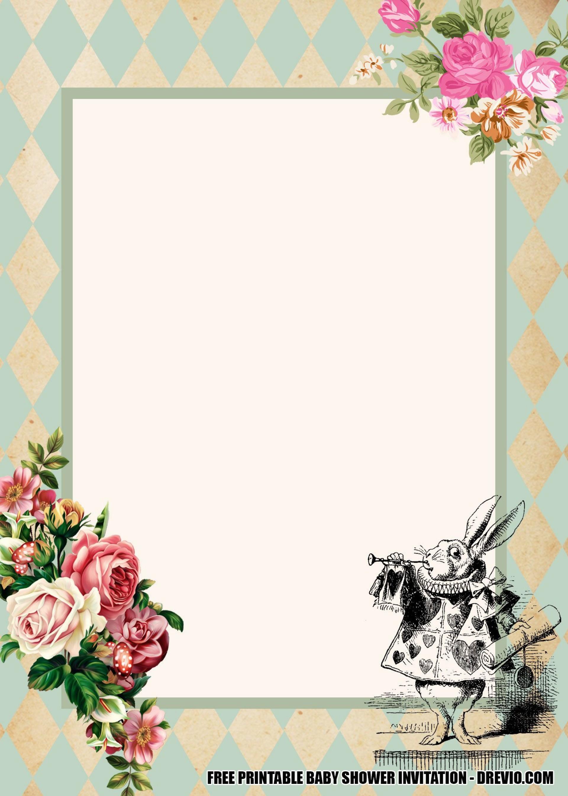 006 Unusual Alice In Wonderland Invitation Template Image  Templates Wedding Birthday Free Tea Party1920