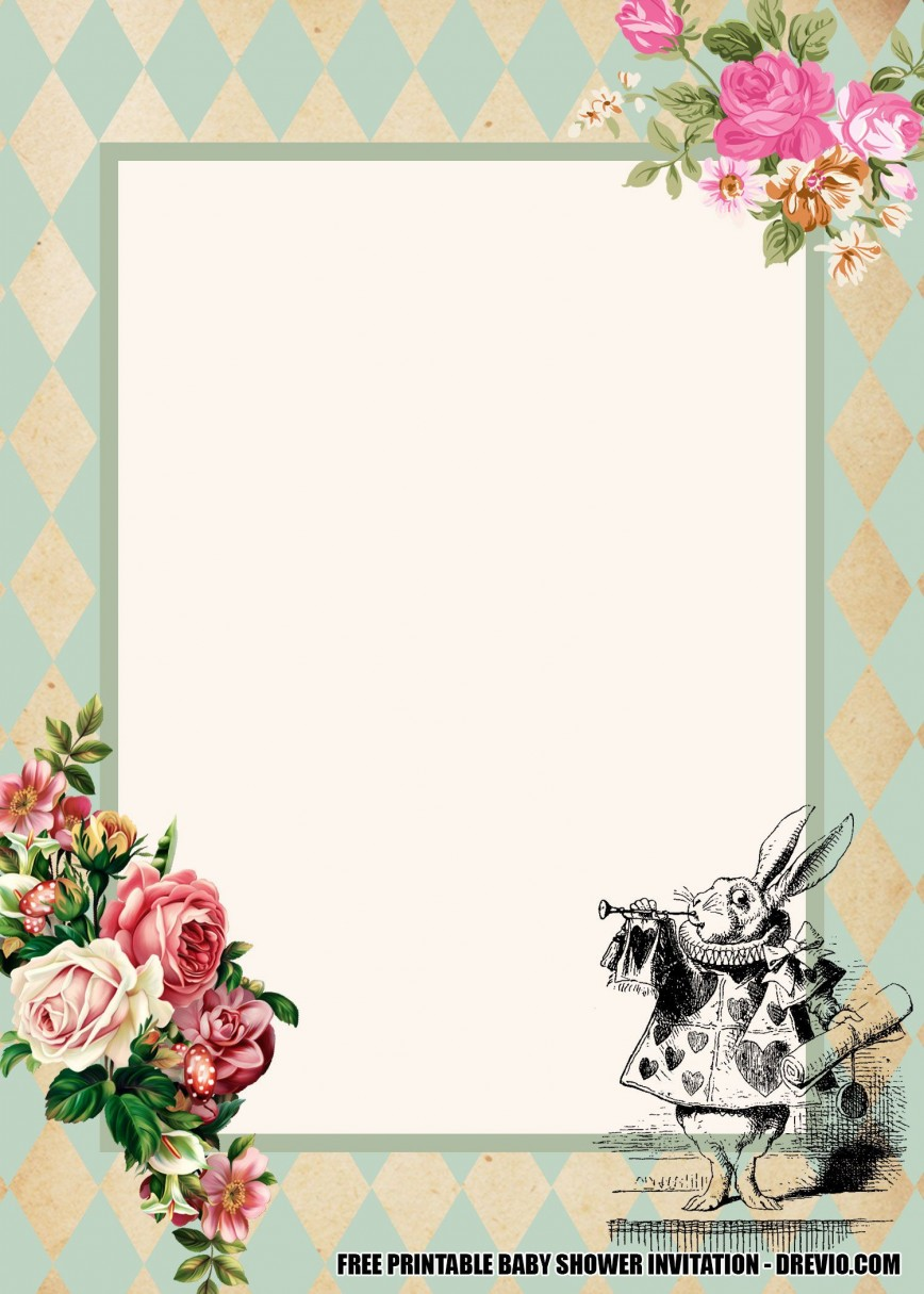 006 Unusual Alice In Wonderland Invitation Template Image  Templates Free Download Bridal Shower Party Invite