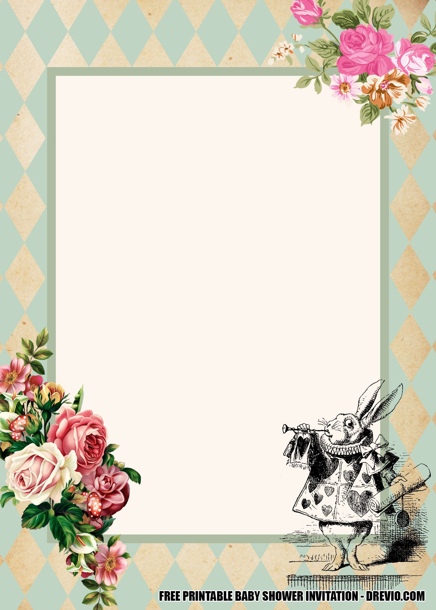 006 Unusual Alice In Wonderland Invitation Template Image  Templates Wedding Birthday Free Tea PartyFull