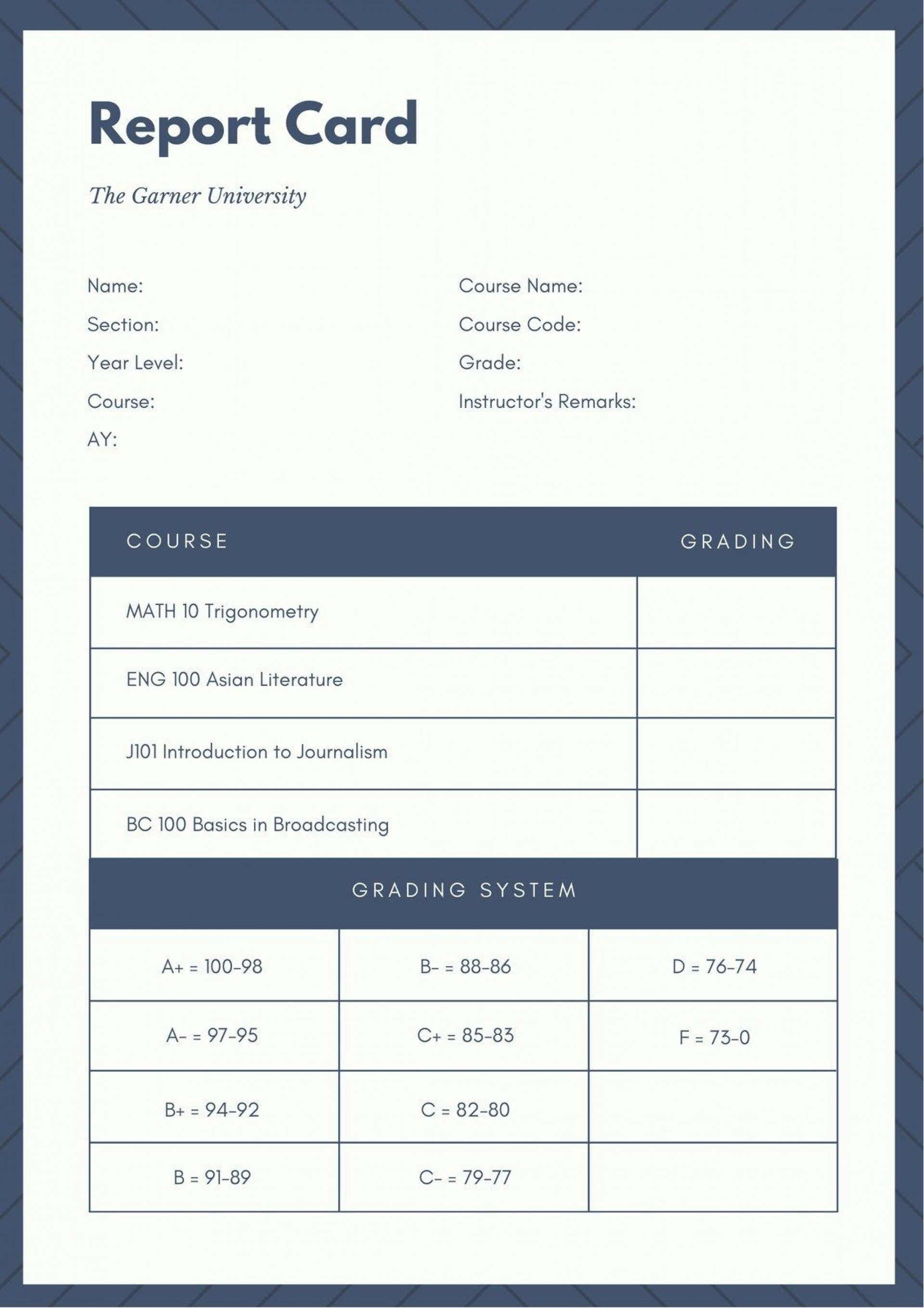 006 Unusual College Report Card Template Inspiration  Free Fake1920