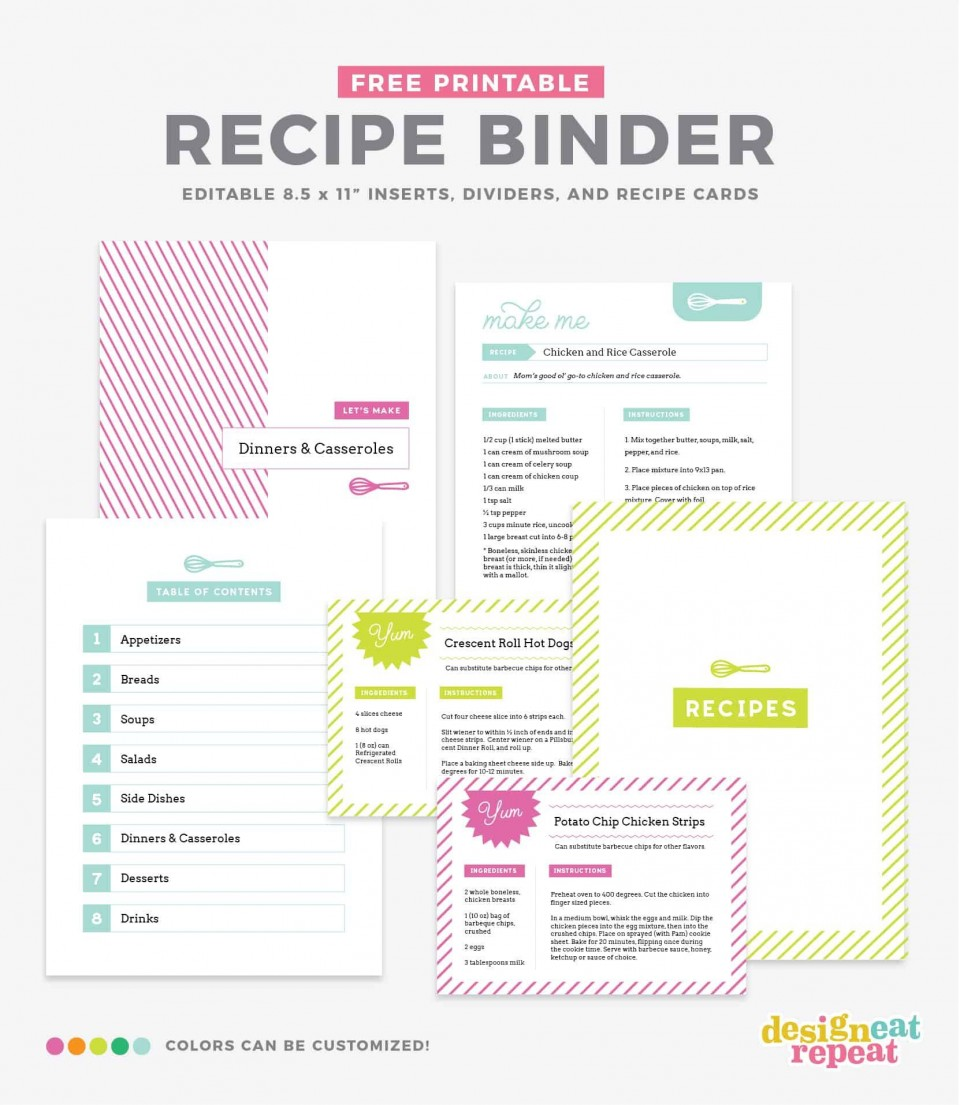 006 Unusual Create Your Own Cookbook Template Concept  Free960