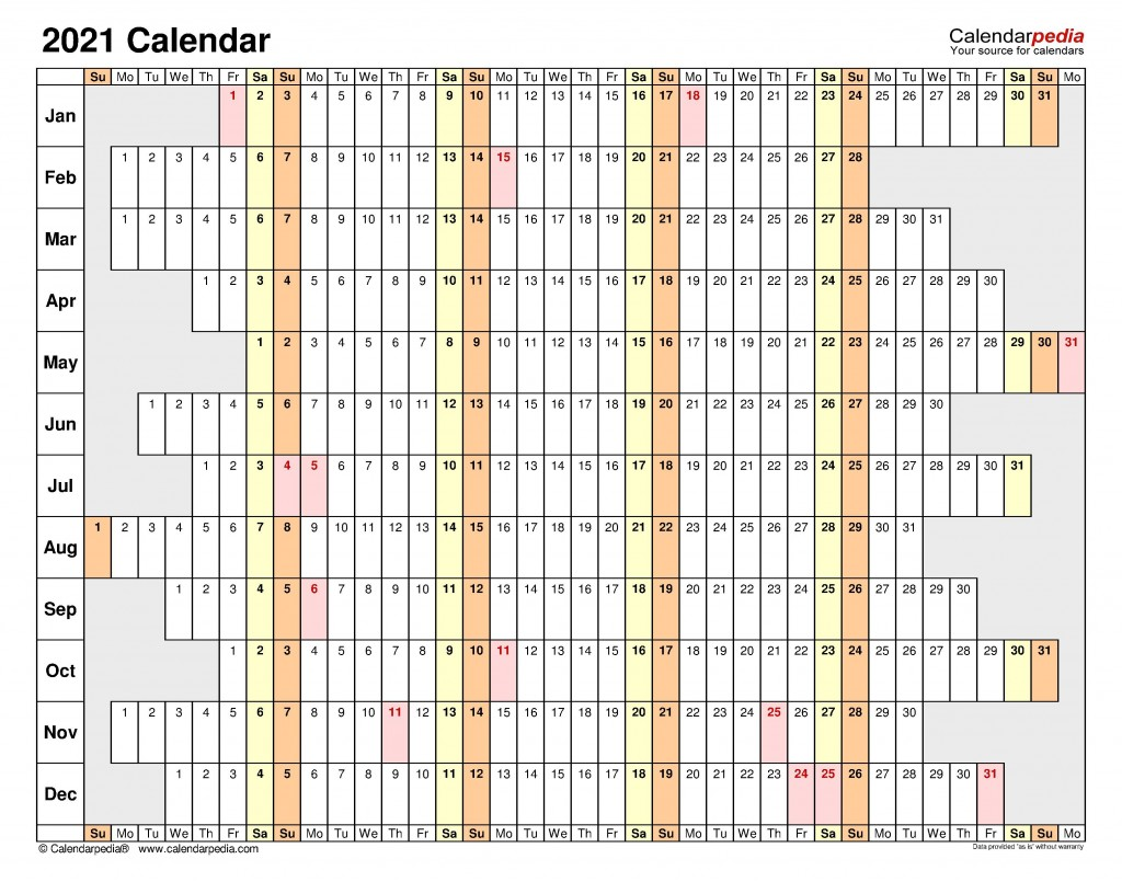 006 Unusual Excel Calendar 2021 Template Highest Clarity  Yearly MicrosoftLarge