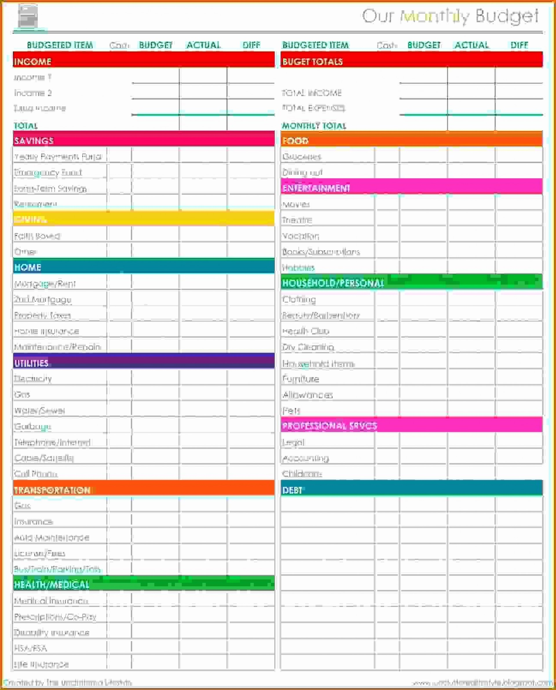 006 Unusual Free Household Budget Template Image  Templates Printable Form Home Excel1920
