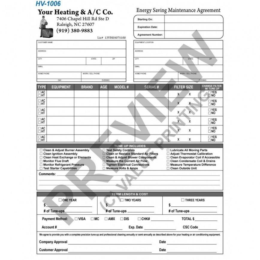 006 Unusual Free Hvac Preventive Maintenance Agreement Template Example