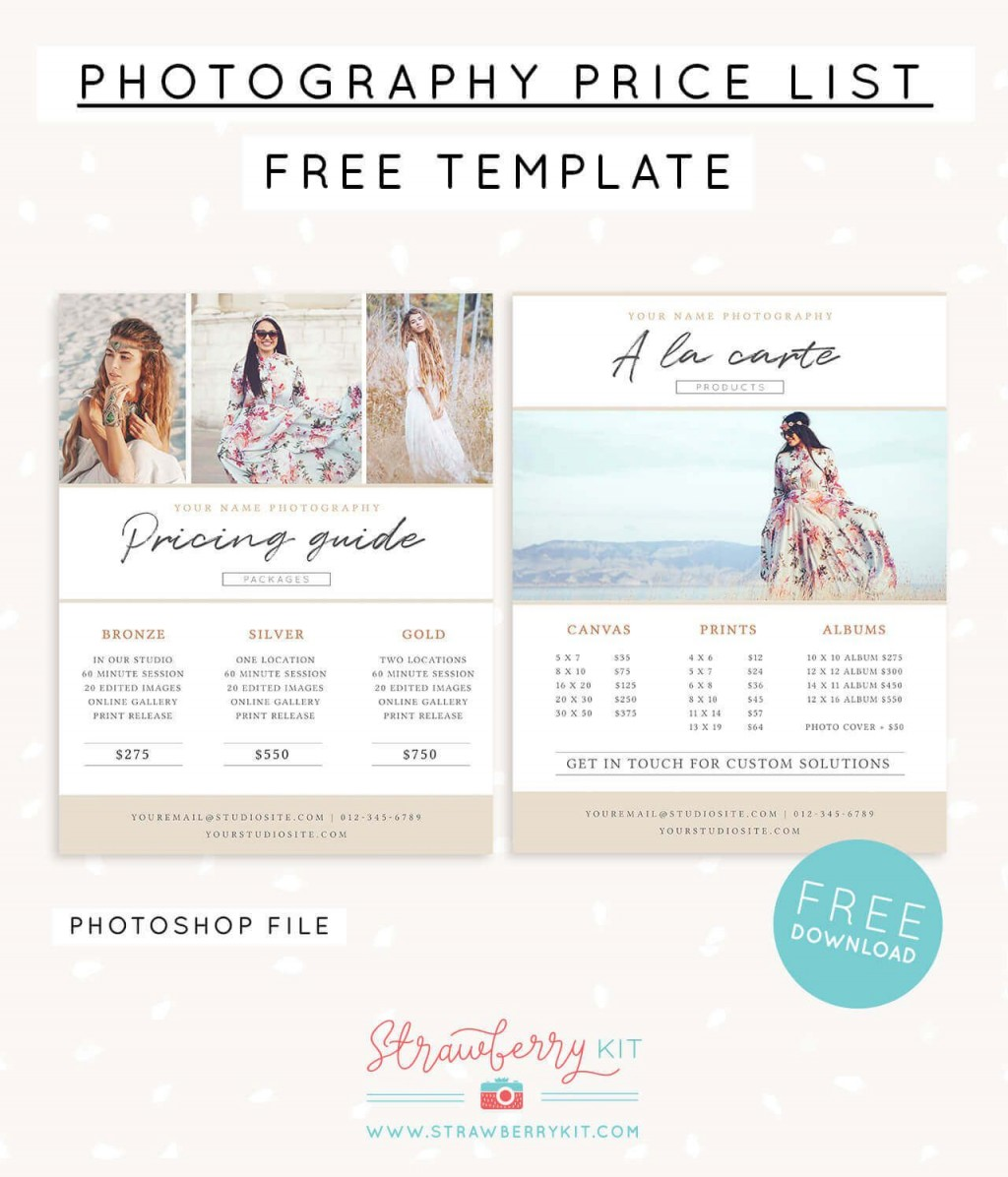 006 Unusual Free Photography Package Template Sample  PricingLarge