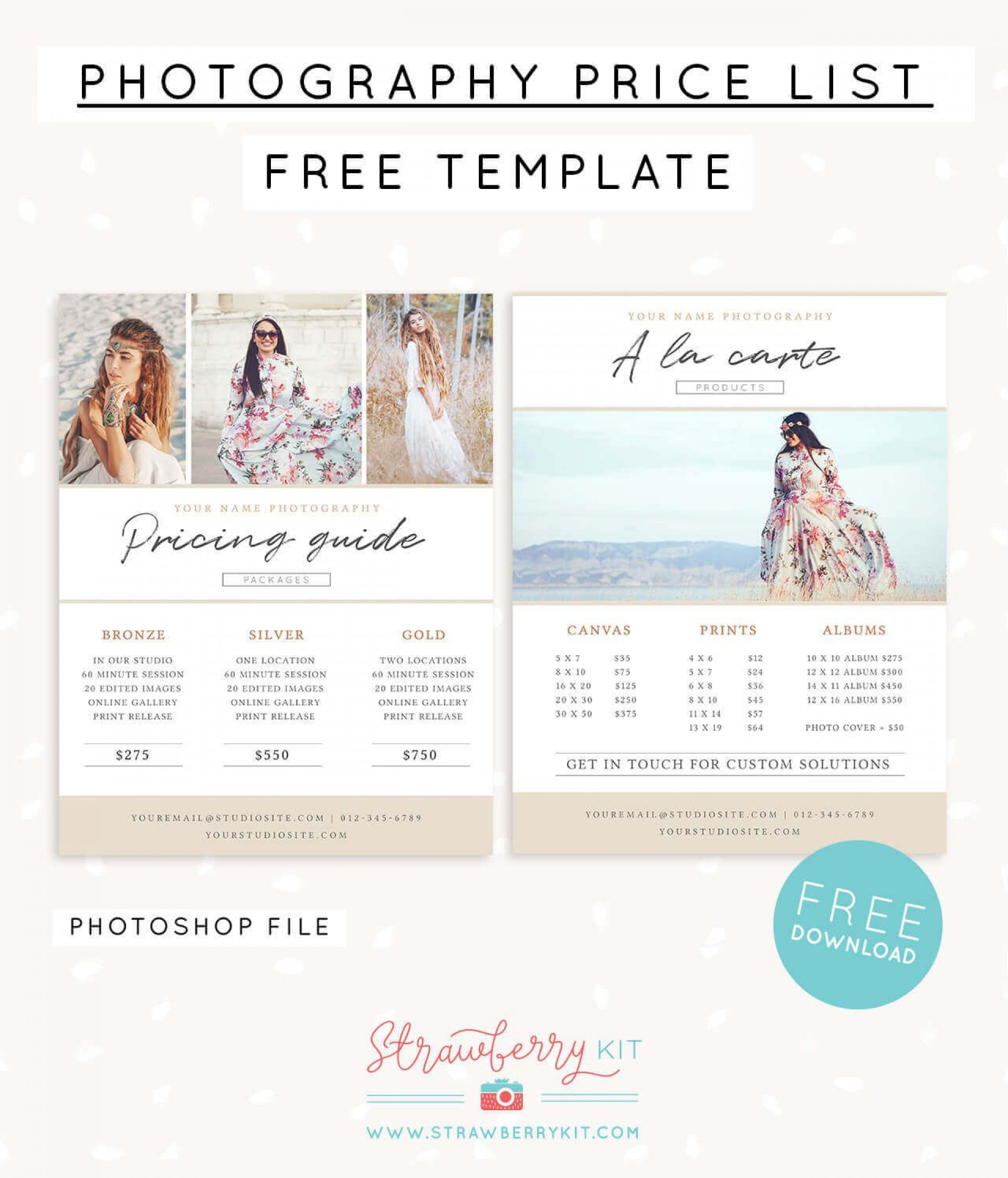 006 Unusual Free Photography Package Template Sample  Pricing1920