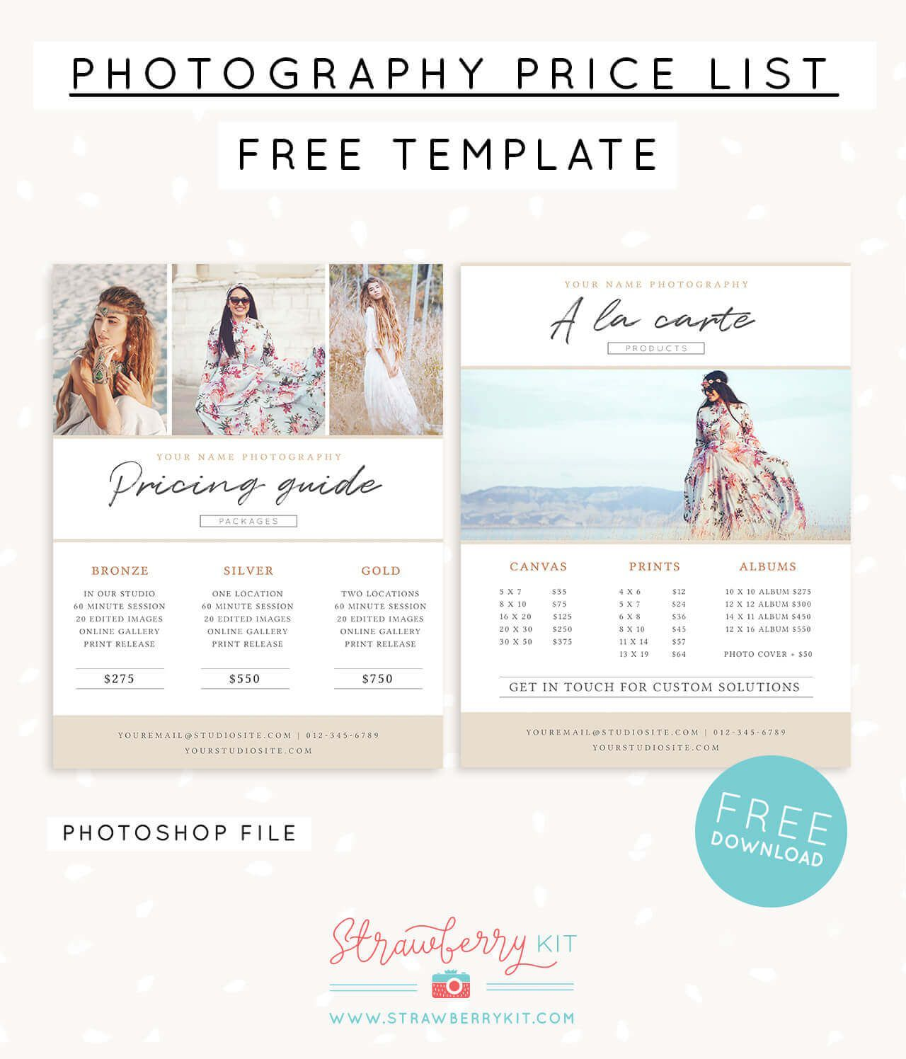 006 Unusual Free Photography Package Template Sample  PricingFull