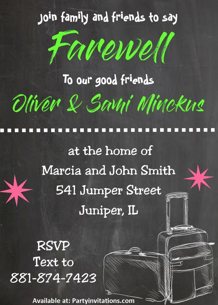 006 Unusual Going Away Party Invitation Template Highest Quality  Free PrintableFull