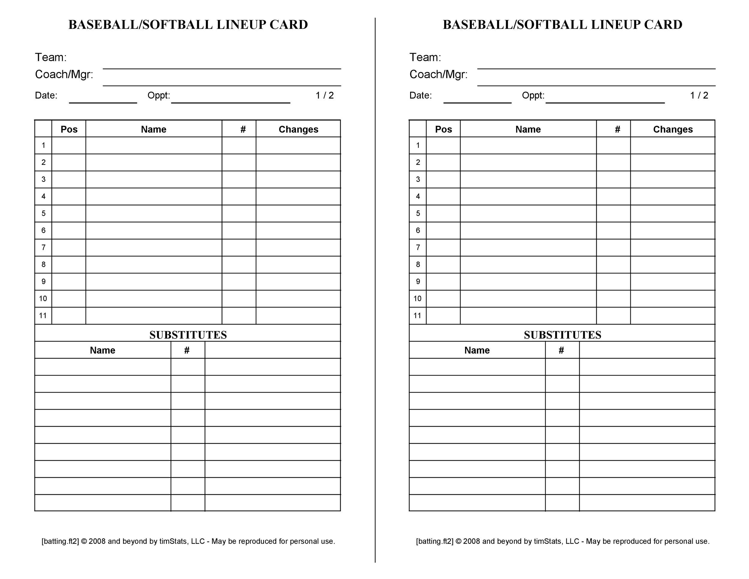 006 Unusual Softball Lineup Template Excel Photo  Batting Card RosterFull