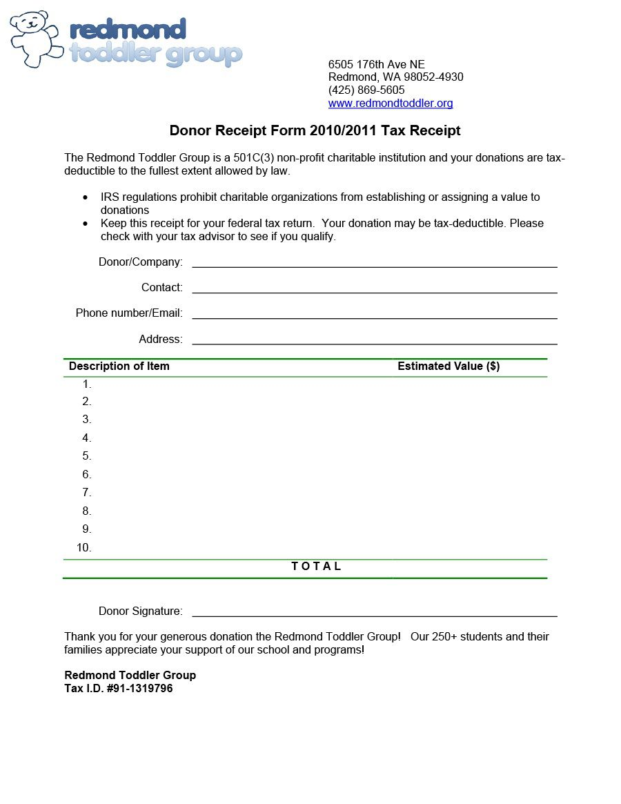006 Unusual Tax Deductible Donation Receipt Printable Photo Full