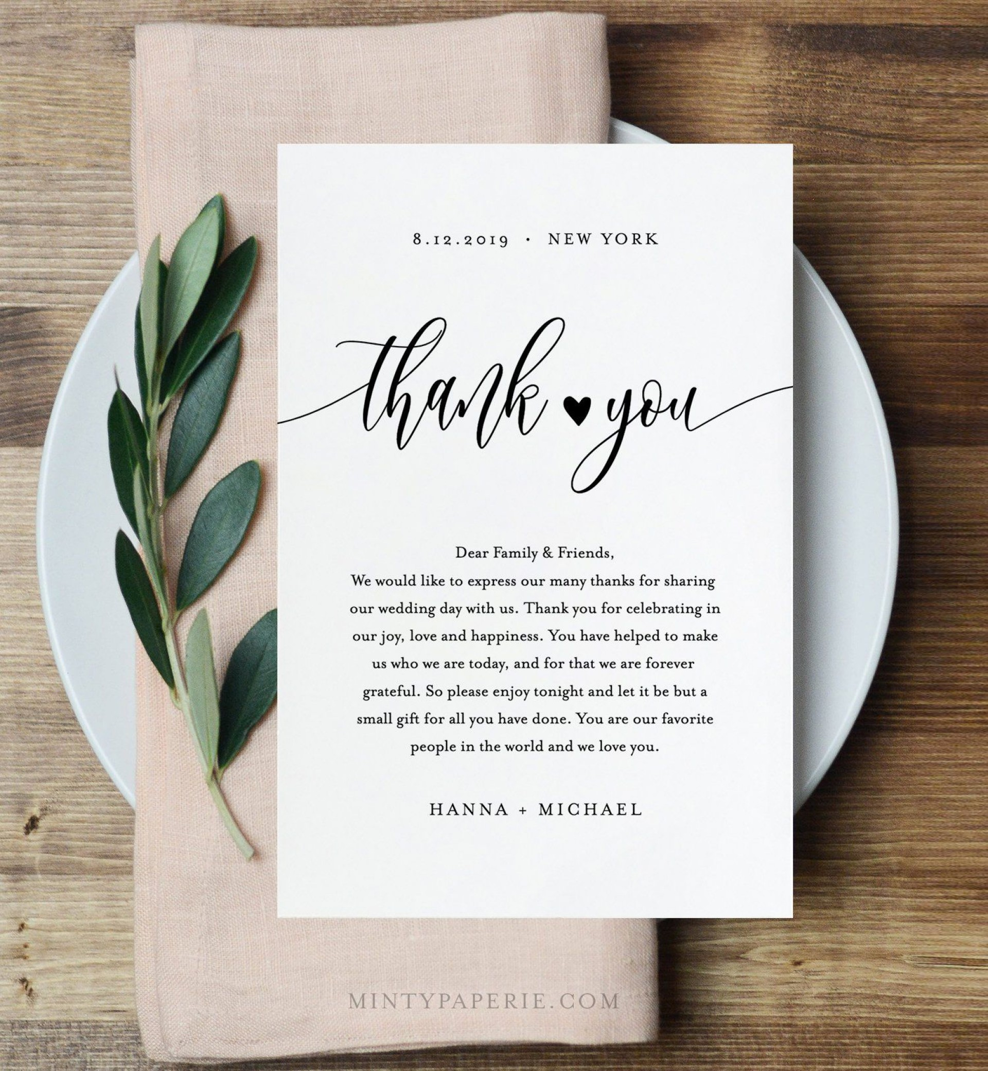 006 Unusual Thank You Note Template Wedding Idea  Card Etsy Wording1920