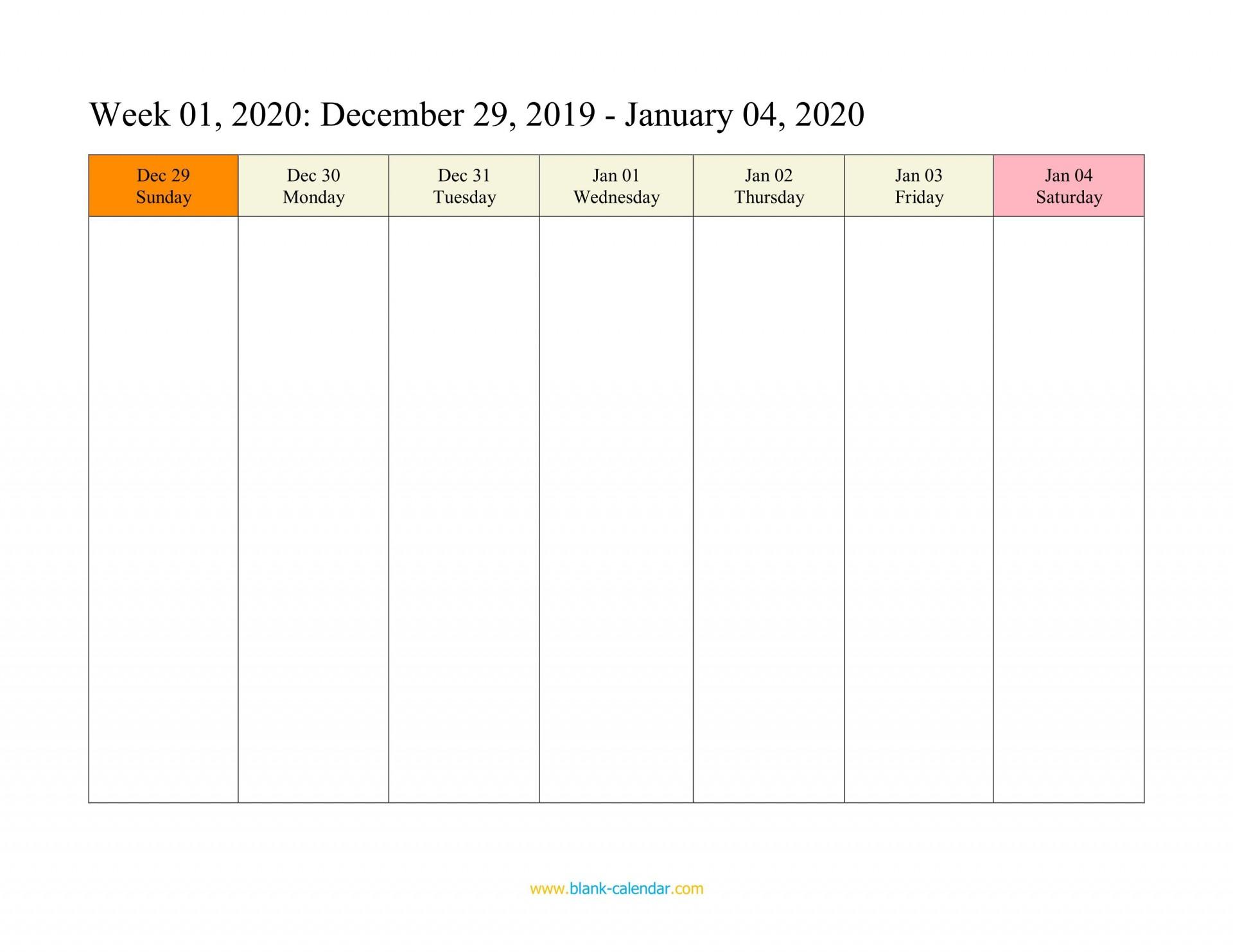 006 Unusual Weekly Calendar Template 2020 Design  Printable Blank Free1920