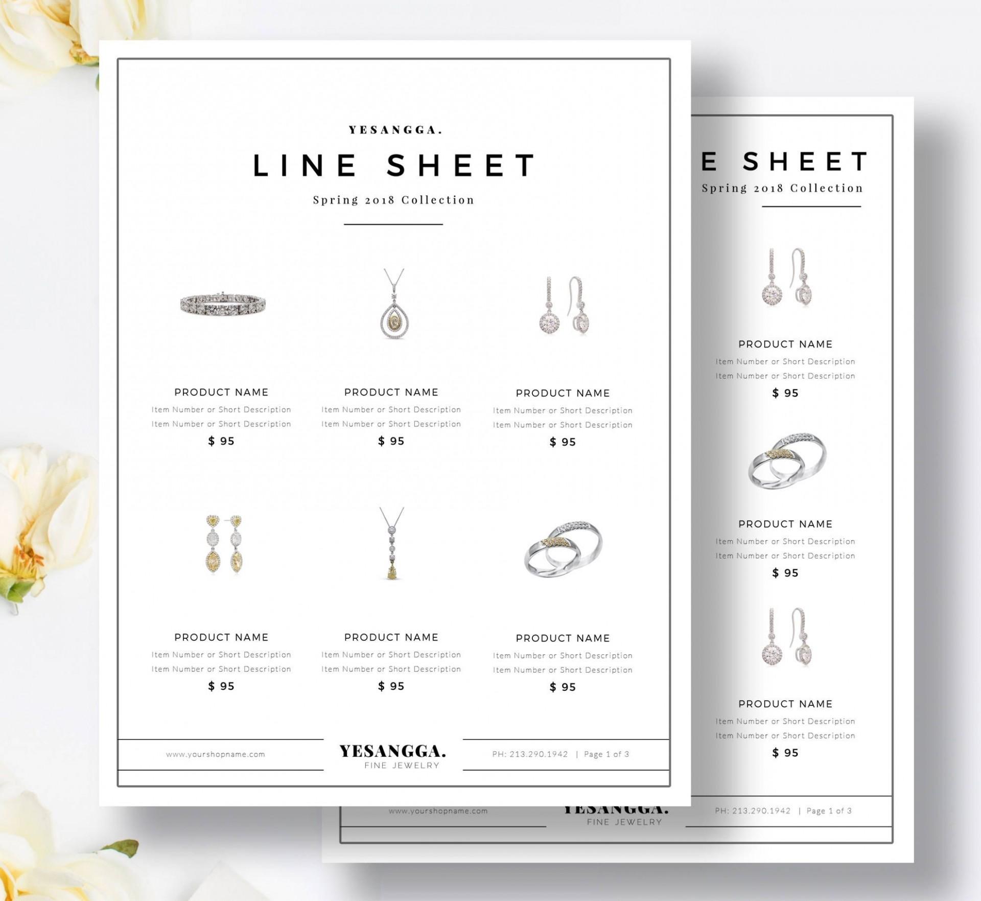 006 Unusual Wholesale Line Sheet Template Sample  Excel1920