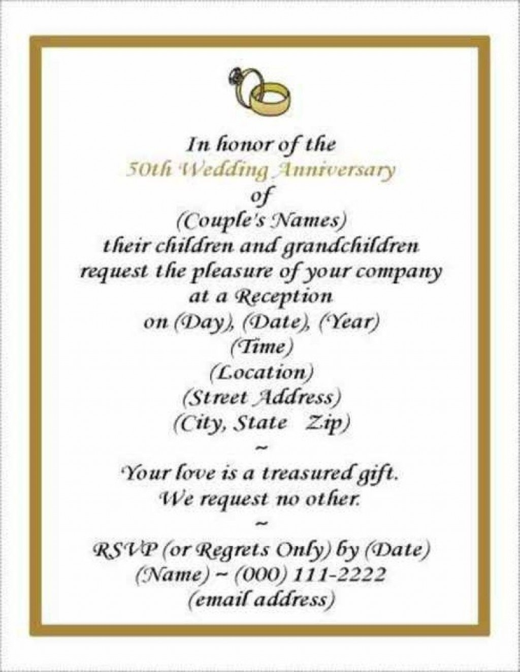 006 Wonderful 50th Wedding Anniversary Invitation Template Free Download Picture  GoldenLarge